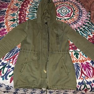 Distressed army green jacket